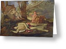 Echo And Narcissus  Greeting Card by Nicolas Poussin