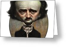Edgar Allan Poe Greeting Card by Court Jones