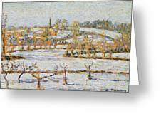 Effect Of Snow At Eragny Greeting Card by Camille Pissarro