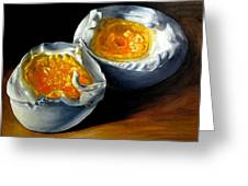 Eggs Contemporary Oil Painting On Canvas  Greeting Card by Natalja Picugina