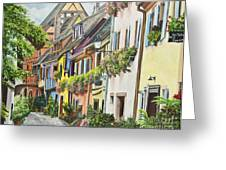 Eguisheim In Bloom Greeting Card by Charlotte Blanchard