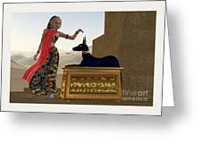 Egyptian Woman And Anubis Statue Greeting Card by Corey Ford
