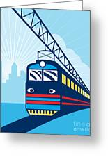 Electric Passenger Train Greeting Card by Aloysius Patrimonio