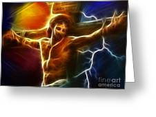 Electrifying Jesus Crucifixion Greeting Card by Pamela Johnson