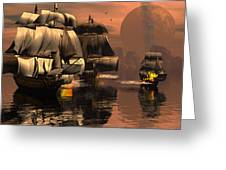 Eliminating The Pirates Greeting Card by Claude McCoy