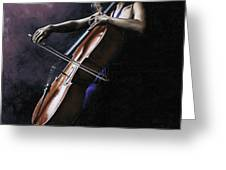 Emotional Cellist Greeting Card by Richard Young