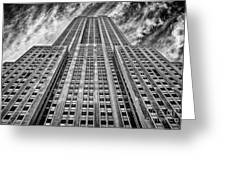 Empire State Building Black And White Greeting Card by John Farnan