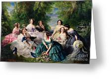 Empress Eugenie Surrounded By Her Ladies In Waiting Greeting Card by Franz Xaver Winterhalter