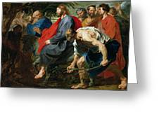 Entry Of Christ Into Jerusalem Greeting Card by Sir Anthony van Dyke