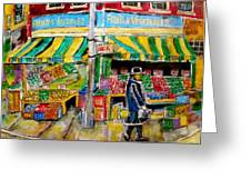 Essex Produce Market Greeting Card by Michael Litvack