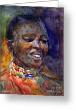 Ethnic Woman Portrait Greeting Card by Svetlana Novikova