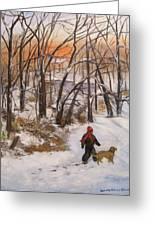 Evening Stroll Greeting Card by Aurelia Nieves-Callwood