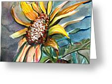 Evening Sun Flower Greeting Card by Mindy Newman