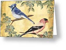 Exotic Bird Floral And Vine 1 Greeting Card by Debbie DeWitt