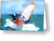 Expressionist Orange Sail Windsurfer Greeting Card by Elaine Plesser