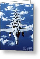 Fa-18c Hornet Aircraft Fly In Formation Greeting Card by Stocktrek Images