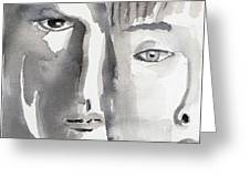 Faces Greeting Card by Arline Wagner