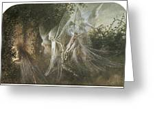 Fairies Looking Through A Gothic Arch Greeting Card by John Anster Fitzgerald