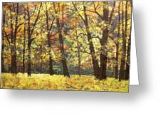Fall Oaks In El Capitan Meadow Yosemite National Park Greeting Card by Connie Tom