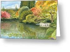 Fall Reflections Butchart Gardens Greeting Card by Vidyut Singhal