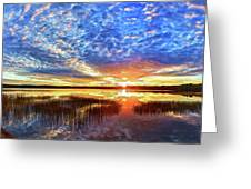 Fall Sunset At Round Lake Panorama Greeting Card by Bill Caldwell -        ABeautifulSky Photography