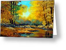 Fall Woods Stream  Greeting Card by Laura Tasheiko