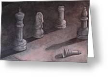 Fallen Chessman Greeting Card by Sandy Clift