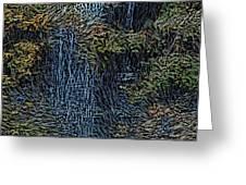 Falls Woodcut Greeting Card by David Lane