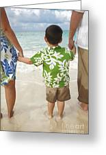 Family At Lanikai II Greeting Card by Brandon Tabiolo - Printscapes