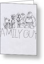 Family Guy Pencil Sketch Greeting Card by Vincent Gitto