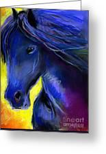 Fantasy Friesian Horse Painting Print Greeting Card by Svetlana Novikova