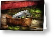 Farm - Laundry  Greeting Card by Mike Savad