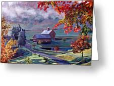 Farm In The Dell Greeting Card by David Lloyd Glover