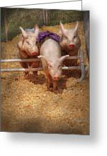 Farm - Pig - Getting Past Hurdles Greeting Card by Mike Savad