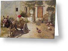 Farm Yard Scene Greeting Card by Henry Herbert La Thangue
