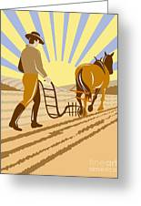 Farmer And Horse Plowing Greeting Card by Aloysius Patrimonio