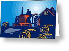 Farmer Driving Vintage Tractor Greeting Card by Aloysius Patrimonio