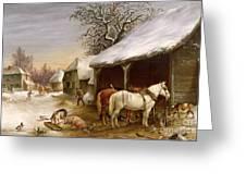 Farmyard in Winter  Greeting Card by Henry Woollett