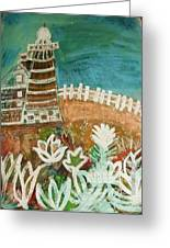 Faro Un Poquito Torcida Con Valla Greeting Card by Anne-Elizabeth Whiteway