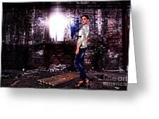 Fashion Model In Jeans  Greeting Card by Milan Karadzic