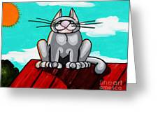 Fat On A Hot Tin Roof Greeting Card by Laura Brightwood