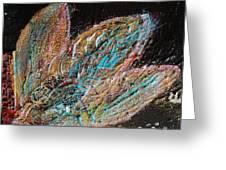 Feathery Leaves In Fantasy Blues Greeting Card by Anne-Elizabeth Whiteway