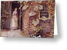 Feeding The Kitten Greeting Card by Helen Allingham