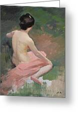 Female Nude Greeting Card by Jules Ernest Renoux