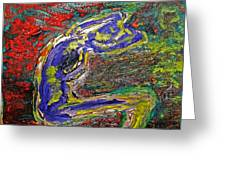 Female Washing Hair With Bold Primary Colors Textures And Expressionism  Greeting Card by MendyZ M Zimmerman