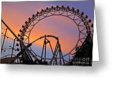Ferris Wheel Sunset Greeting Card by Eena Bo