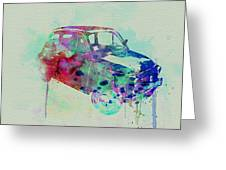 Fiat 500 Watercolor Greeting Card by Naxart Studio