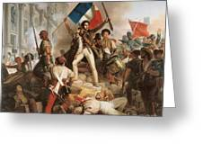 Fighting At The Hotel De Ville Greeting Card by Jean Victor Schnetz