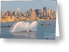 Fire Boat And Manhattan Skyline Iv Greeting Card by Clarence Holmes