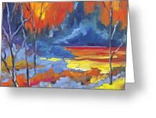 Fire Lake Greeting Card by Richard T Pranke
